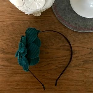 Handmade headband with teal fabric flower